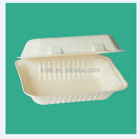 eco-friendly bagasse pulp biodegradable food container 9X6inch