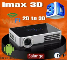 New 1280x800 mini LED lamp android 4.2 dlp active shutter 3D projector proyector convert 2D to 3D beamer factory whollesale