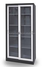 Modern office furniture 2 sliding glass door steel filing cabinet