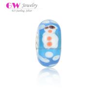 LampWork 925 Sterling Silver Single Core Cute Pattern Murano Glass Beads