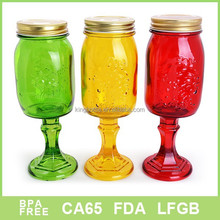 multi- color party cup glass juice mug with metal lid