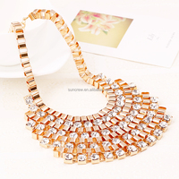 New arrival wholesale women fashion jewelry no.SN15165 gorgeous bright rhinestones choker necklace