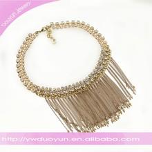 Zircon Frame Bib Chains Tassel Gold Jewelry