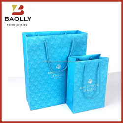 Custom paper shopping bag gift bag with rope handles