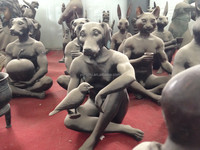Egypt casting bronze dog head person sculpture,Egyptian statues