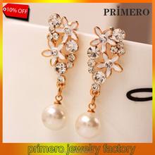 PRIMERO allergy free earrings 18K Rose Gold Plated Crystal Rhinestone Pearl Flower Chandelier Stud Earrings High Quality