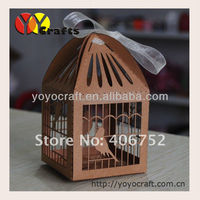 Kraft paper Personalized laser cut packaging chocolate boxes with ribbon cupcake boxes wedding 200pcs/lot
