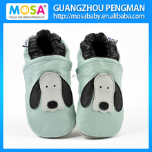 Baby Toddler Boy Sky Blue Cow Leather Soft Sole Shoes With White/Black Puppy Pattern