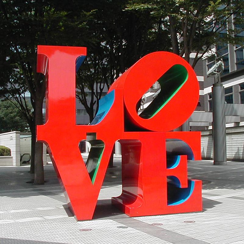 La calle comercial arte decorativo Amour estatua de acero inoxidable escultura