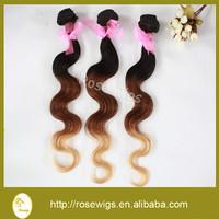 Grade 6A 2015 Alibaba new hot hair 100% brazilian virgin hair body wave ombre weaving hair extension three tone color