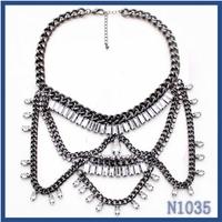 Indian wholesale fashion jewelry new model seed pendant gun black women necklace chain