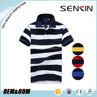 Wholesale Polo shirts From China Blue and White Stripe Polo Shirt for Men viscose cotton mandarin collar shirt OEM