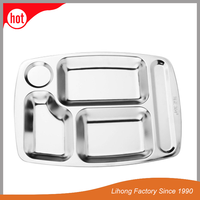 Wholesale canteen serving plate metal stainless steel dinner plates