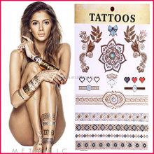 Fashion jewelry 2015 custom metallic tattoos sticker gold flash temporary glitter tattoo