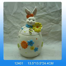 Large Easter Bunny Ceramic Storage Jar with Stainless Steel Lock