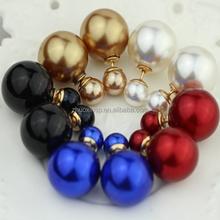 New Fashion women Double Sides Pearl Earring Two Ball Stud Earrings,fancy stud earring