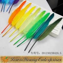 Promotion colorful quill pen with logo imprint on the feather quill,fashionable promotional gift