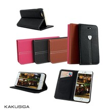 Kaku fashion design genuine leather case for iphone 5 5s with Card Slots and Stand