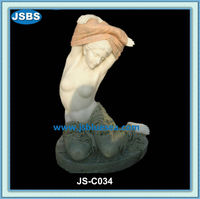 Marble bathing girl statue