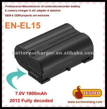 2012 Latest Fully decoded camcorder battery EN-EL15 for Nikon D800 D800E D7000 J1 series