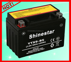 China Supplier factory manufacture 12V 9 Amp battery motorcycle YTX9-BS With Import price