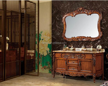 Elegant anique solid wood marble top bathroom cabinet