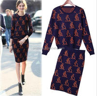 Z51344B Top quality Latest Design winter women long sleeve knitted coat and skirt line and cotton sweater dress clothing sets