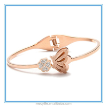 MECY LIFE 2015 wholesale fashion bangles stainless steel clover rose gold butterfly bracelet