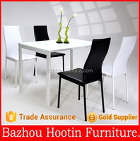 four legs Dining Chair with leather back and seat and metal feet for dining room furniture
