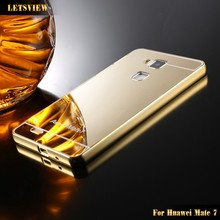 LETSVIEW HOT!!!Mirror gold plated housing 24k rld free sample phone case for Huawei Meal goate 7 stylish mobile phone back cover
