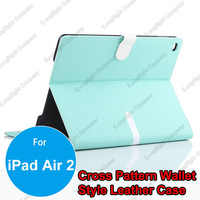 Wholesale Double Colors Magnetic PU Leather Stand Protective Case with 4 Card Slots for iPad Air 2