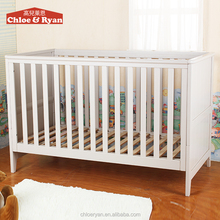 Antique White bamboo wooden Baby Crib for twins