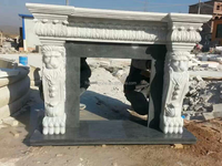 Natural White Marble Fireplace Mantel