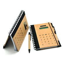 2015 New Spiral Paper Calculator Notebook with Pen and Rubber Band , Cheap Price Notebook with Calculator PN-503PA
