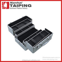 Silver Aluminum Premium Collection Organizer Box Makeup Kit Case with Internal Dividers