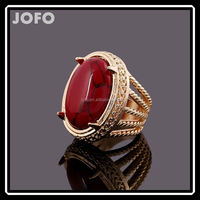 Men's Alloy Fashion Biker Big Red Turquoise Stone Punk Style Ring Golden Gothic Design XPJ0171