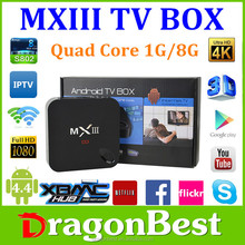 two year warranty MXIII/MX3 Android 4.4 Quad Core TV Box 1G/8GB Full HD 1080P full XBMC Media Player andriod tv box