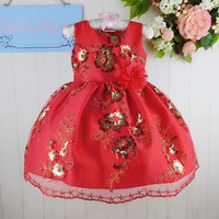 Kids Clothes Embroidery Baby Girls Party Dresses 2015 Chinese New Year Children Clothing