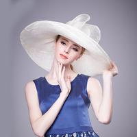 High Quality large brim white Philippines Fashion church hats wide brim sinamay