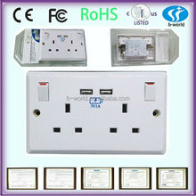 Wall mounted usb electric switch and socket with double 13amp