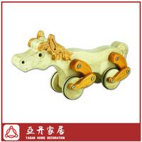 Handmade Wooden animal horse pull toy