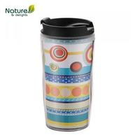 Double wall plastic auto travel mug