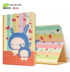 for ipad mini 1 2 3 Cartoon Cute Kids Flip Leather Case