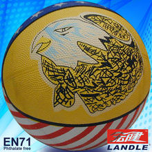 good new official size new style rubber made yellow basketball