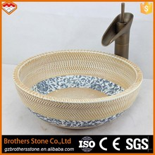 Jump knife carving luxuty wash basin colour with China flower pattern bowl shape