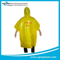 Customized one-off PE printed rain poncho with hood