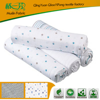 Hot Sales breathable 100% cotton printed muslin fabric, baby swaddle