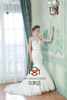 Sexy SHMY-W137 Halter Beaded See Through Back Lace Bottom Mermaid Wedding Dress