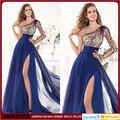 vestido de noche azul de la gasa de la división larga moldeado elegante imperio de manga larga de un hombro por encargo