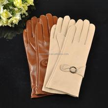 Simple butterfly type metal buckle long sheepskin lady leather gloves